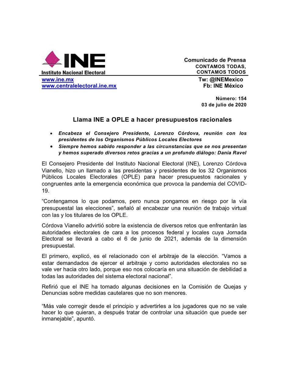 📑 Llama @INEMexico a #OPLE a hacer presupuestos racionales.  #30AñosINE