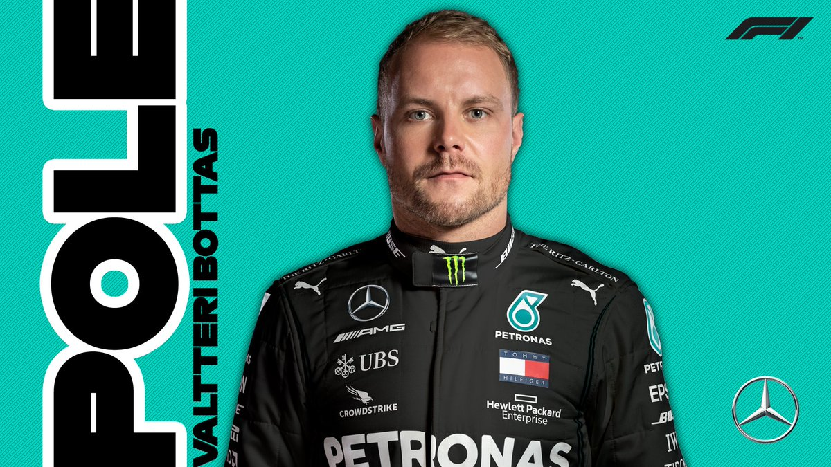 🚀🚀🚀   @ValtteriBottas takes the first pole of 2020! 👏  Mercedes team mate @LewisHamilton finishes P2 with @Max33Verstappen in third  #AustrianGP 🇦🇹 #F1