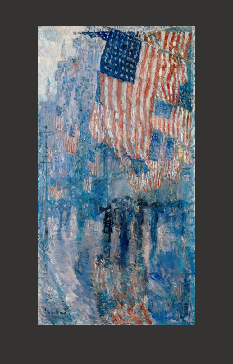 "Have a safe and happy Fourth of July! ""Government of the people, by the people, for the people, shall not perish from the earth."" Abraham Lincoln Painting by American Impressionist Childe"