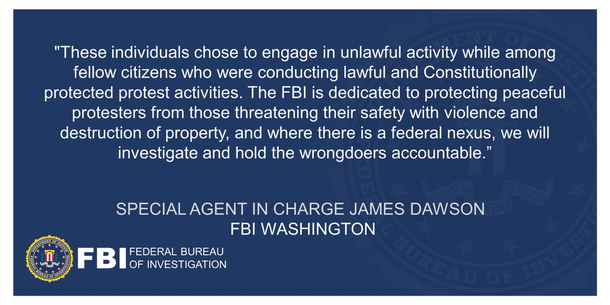 "One additional man has been charged with destruction of federal property amid recent protests. #FBIWFO SAC Dawson said ""The FBI is dedicated to protecting peaceful protesters from those threatening their safety with violence & destruction of property."""