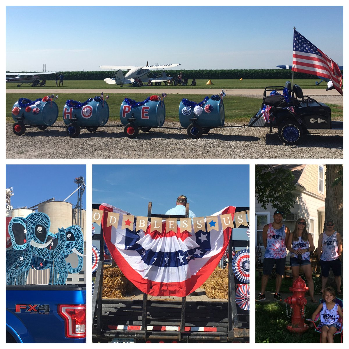"""Sully 4th of July parade:  designer train, cool art work, back of GOP float """"God Bless the USA"""" and home made tie-dyed shirts! Awesome to be there, even with no handouts and physical distancing. We are close in spirit & united in gratitude. #IA02"""