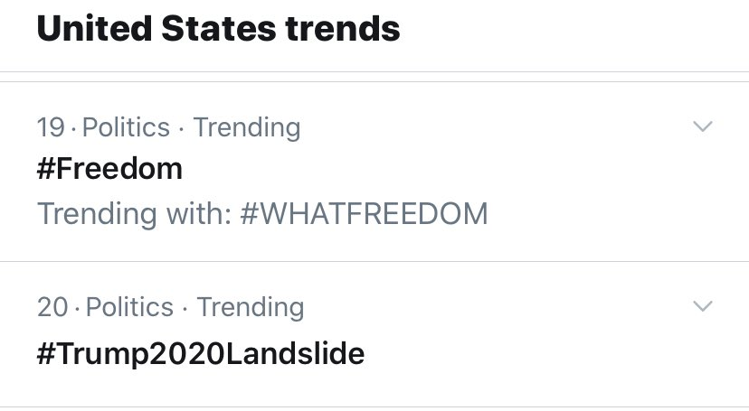 """Trending today... """"freedom"""" and """"Trump 2020 Landslide"""" 🇺🇸 #GodBlessTheUSA"""