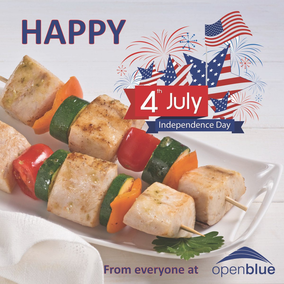 Easy healthy eating for #MemorialDay #independenceday2020 #FourthofJuly2020  🎉 Boneless Skinless #OpenBlue #Cobia on bamboo skewers with zucchini, red & orange pepper slices Brushed with olive oil, lemon juice, salt & pepper Grilled 🔥 #CobiaSkewers 🙌 sales@openblue.com