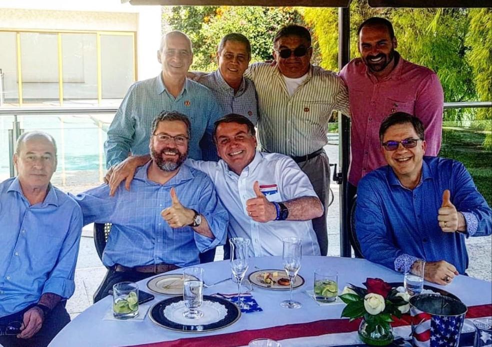 Sem máscaras, Bolsonaro, filho e ministros comemoram a independência dos EUA em Brasília #G1