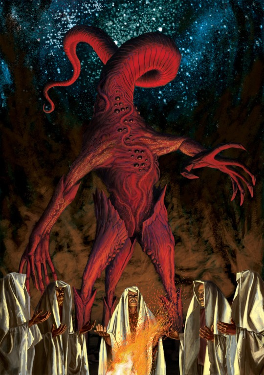 🦑As you celebrate with fireworks tonight, He watches to see whether your adoration is pure towards Him🎨Ernő Juhász🦑#Lovecraftian #Arkham #Mythos #Cthulhu #Horror