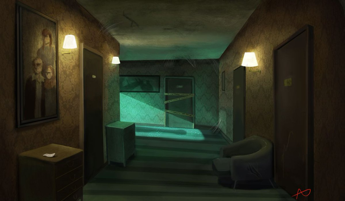 """If this image were a choose your own adventure, what would you do next?   🎨  """"Room Study"""" by AwkwardInWonderland:   #DigitalArt #Horror #Spooky"""
