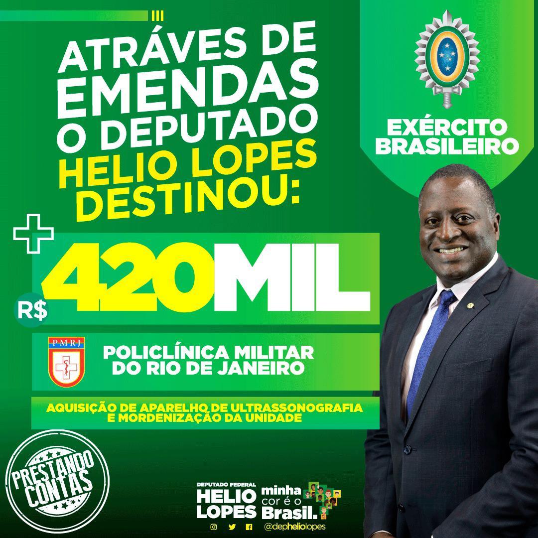 Através de emendas, destinamos R$420 mil para POLICLÍNICA MILITAR DO RIO DE JANEIRO. #fechadocombolsonaro #ptnuncamais #depheliolopes #minhacoréobrasil