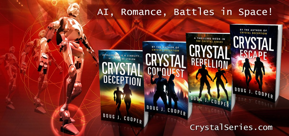 """""""Cooper's take on the sentient AI trope is refreshing.""""  The Crystal Series – futuristic thrill rides Start with first book CRYSTAL DECEPTION Series info:  Buy link:  #kindleunlimited #scifi"""