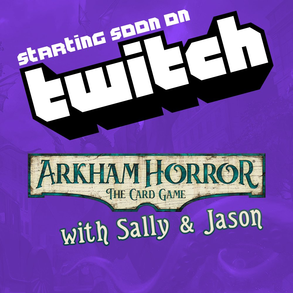 Fan of the unknown? Sally and Jason are jumping on the stream to play some #ArkhamHorror LCG from @FFGames with a creepy scenario called 'The Gathering'. You can join in from 2pm at  #arkham #lovecraft #horror