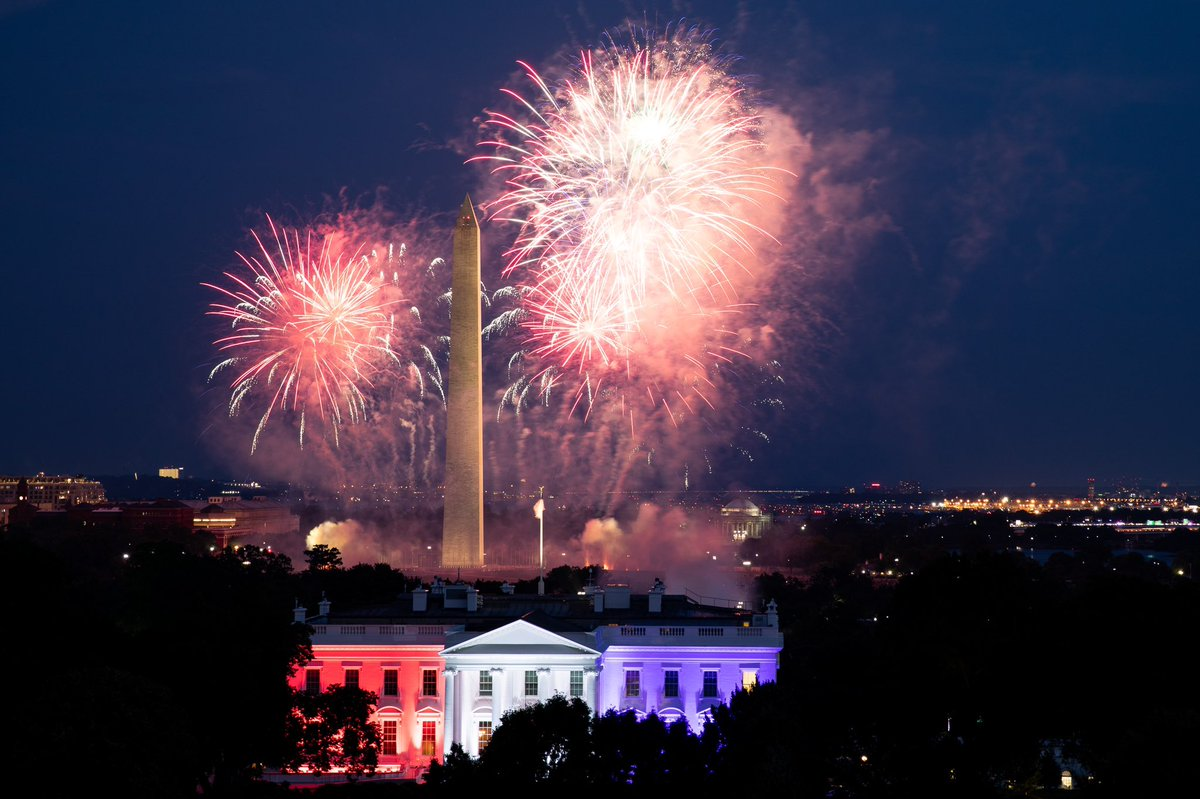 """""""Today, we thank God for the gift of LIFE and the blessing of LIBERTY. We honor the LEGENDS of our history, the GLORIES of our Founding, the GIANTS of the past, and the HEROES of today who keep us Safe, Strong, Proud & FREE! Once again, Happy July Fourth to All!"""" @realDonaldTrump"""