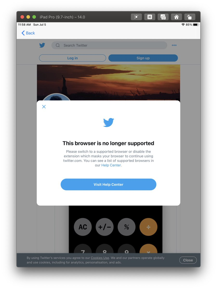 Hey @TwitterSupport, using a regular WKWebView/WebKit on iPad should be supported, please fix your browser detection.