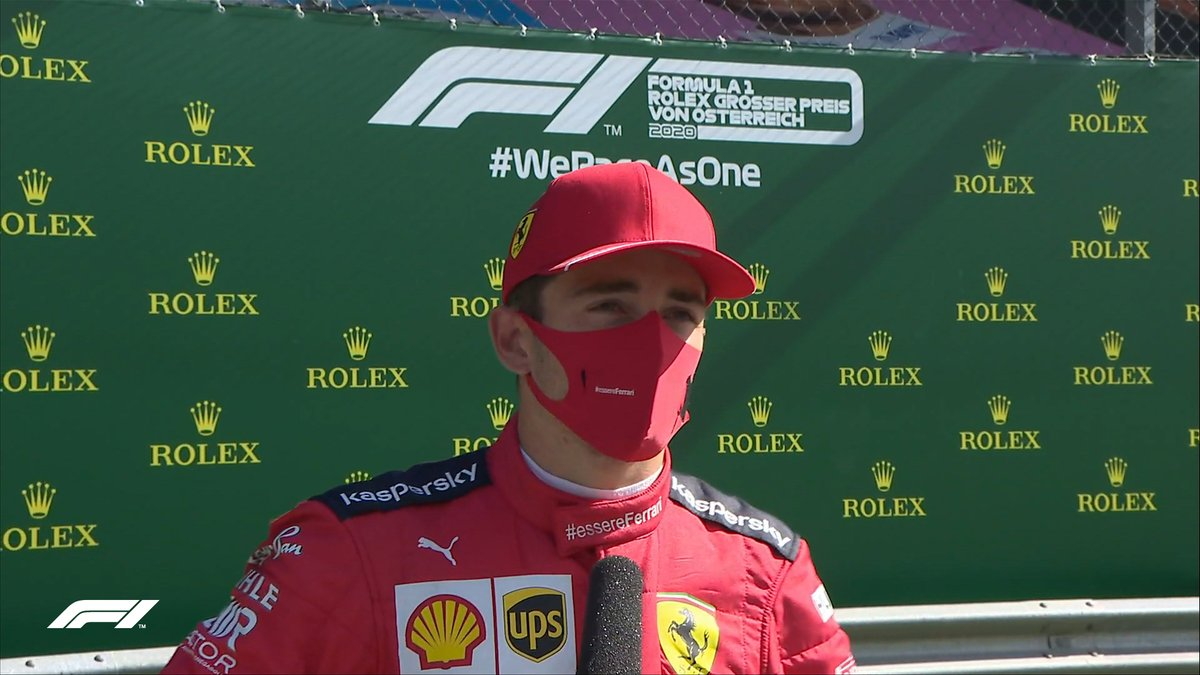 """LECLERC: """"It's a huge surprise, but a good one. I think we did everything perfect today - we had a bit of luck, but it's part of the race too. That was the goal, to take every opportunity""""  #AustrianGP 🇦🇹 #F1"""