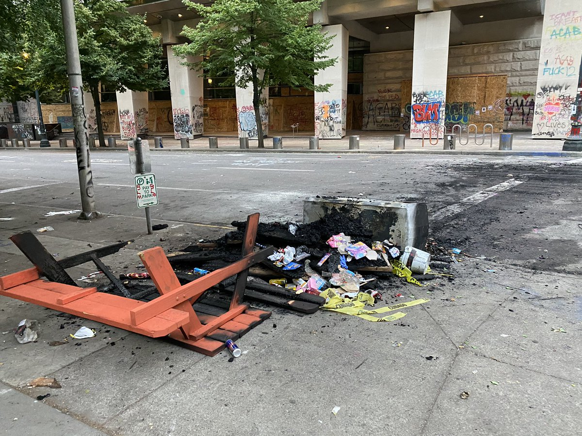 Antifa & BLM extremists have turned downtown Portland into an empty urban wasteland on the watch of @tedwheeler & @OregonGovBrown.  The aftermath of another night of rioting and arson attacks: