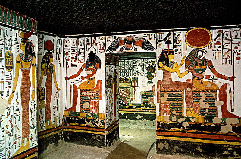Interior of the vestibule within the tomb of Queen Nefertari. Her tomb is located in the Valley of the Queens, near the ancient city of Thebes. It is called the Sistine Chapel of Ancient Egypt.