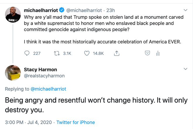 """This narrative that black people who want an accurate reflection of history are """"angry and resentful"""" leaves us with one logical takeaway:  White people don't want to know history because they can't handle the truth.  A thread."""