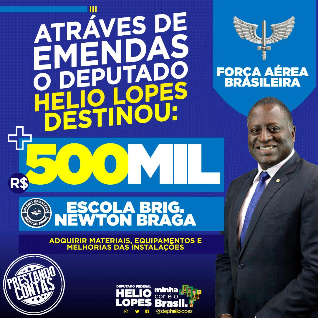 👉🏿🇧🇷Através de emendas, destinamos +R$500 mil para a ESCOLA BRIG. NEWTON BRAGA 🇧🇷 #fechadocombolsonaro #ptnuncamais #depheliolopes #minhacoréobrasil