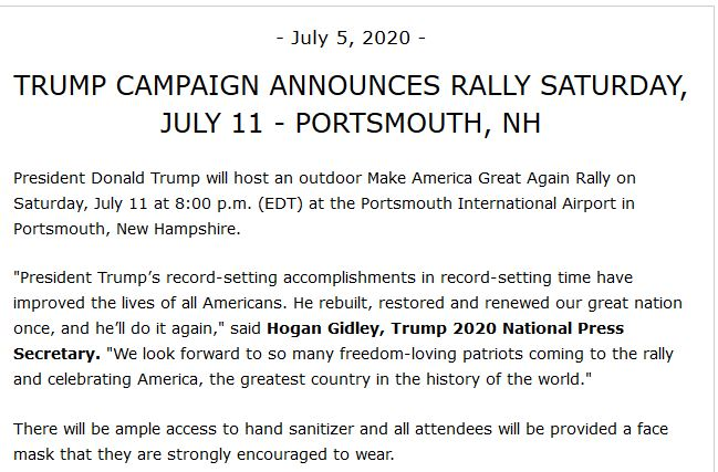 Just in: @realDonaldTrump campaign confirms @WMUR9 report - President to hold an outdoor rally on Saturday, 7/11, & confirms it will be held at the Pease International Airport in Portsmouth at 8 pm.  Our report, announcement below. #nhpolitics #WMUR