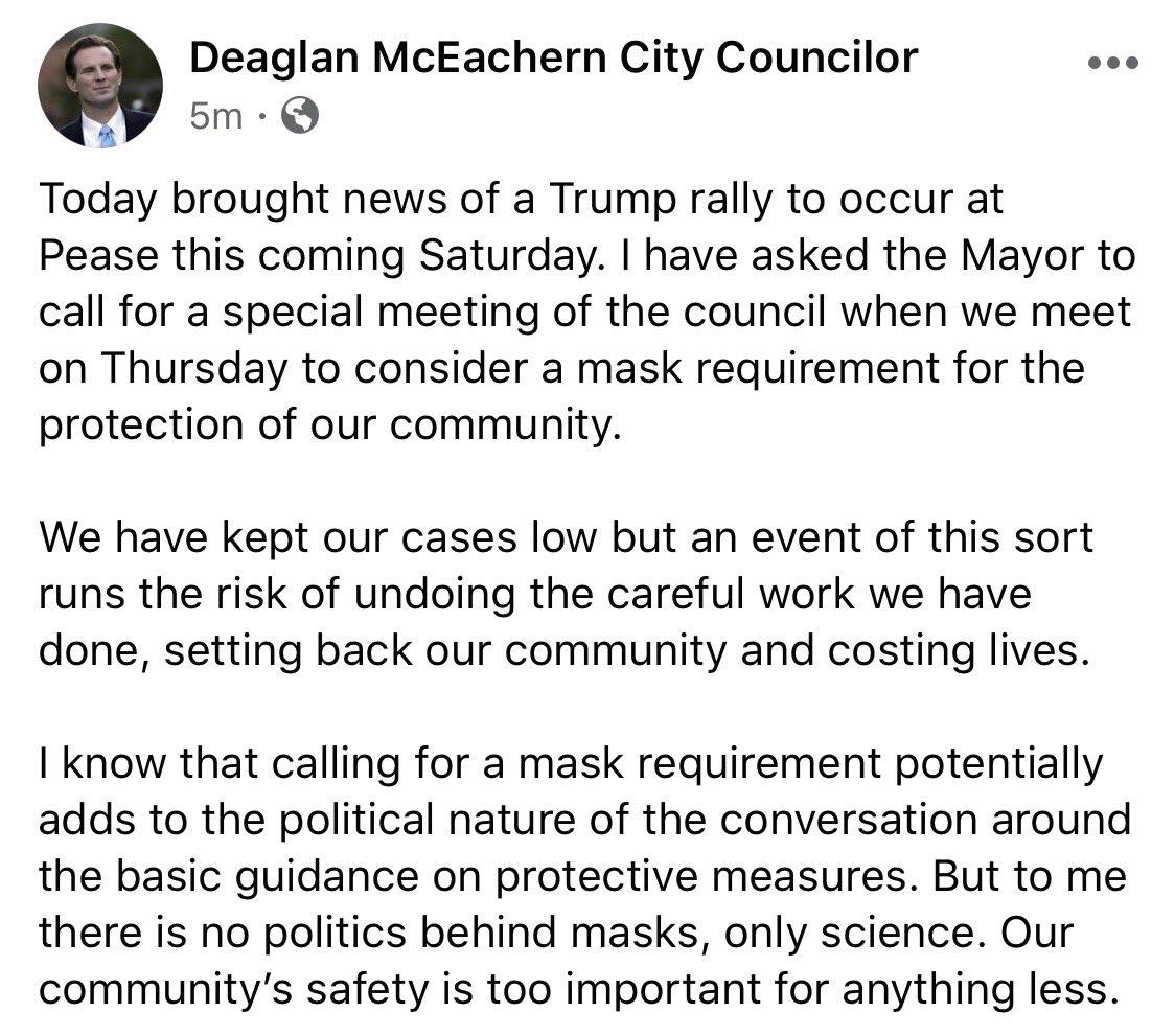 Just in from Democratic Portsmouth city councilor & NH Senate candidate @DeaglanM #nhpolitics via @jdistaso
