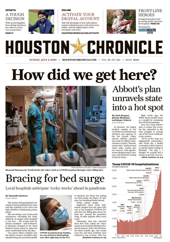 The powerful front page of the @HoustonChron today:   HOW DID WE GET HERE?