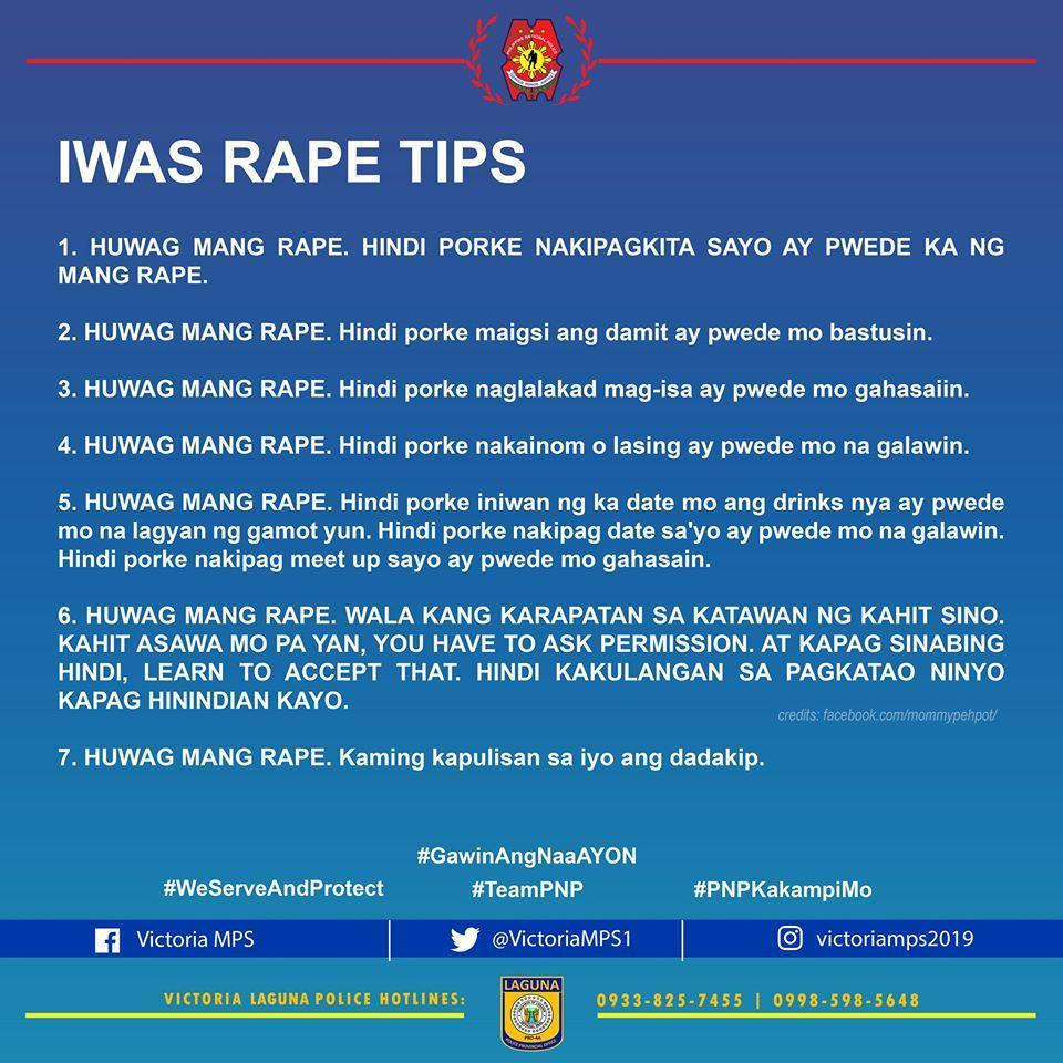 'Huwag mang rape.'  A police station from Laguna posted 'Iwas Rape Tips' on Thursday, July 2, saying that dressing up, getting drunk, walking at night are not invitations to rape. Photo from Victoria MPS/Facebook
