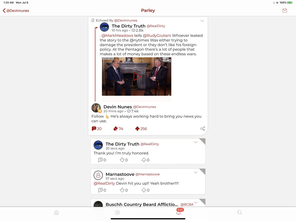 I got a shout out from the man, the myth, the legend @DevinNunes on parler and I'm truly honored.
