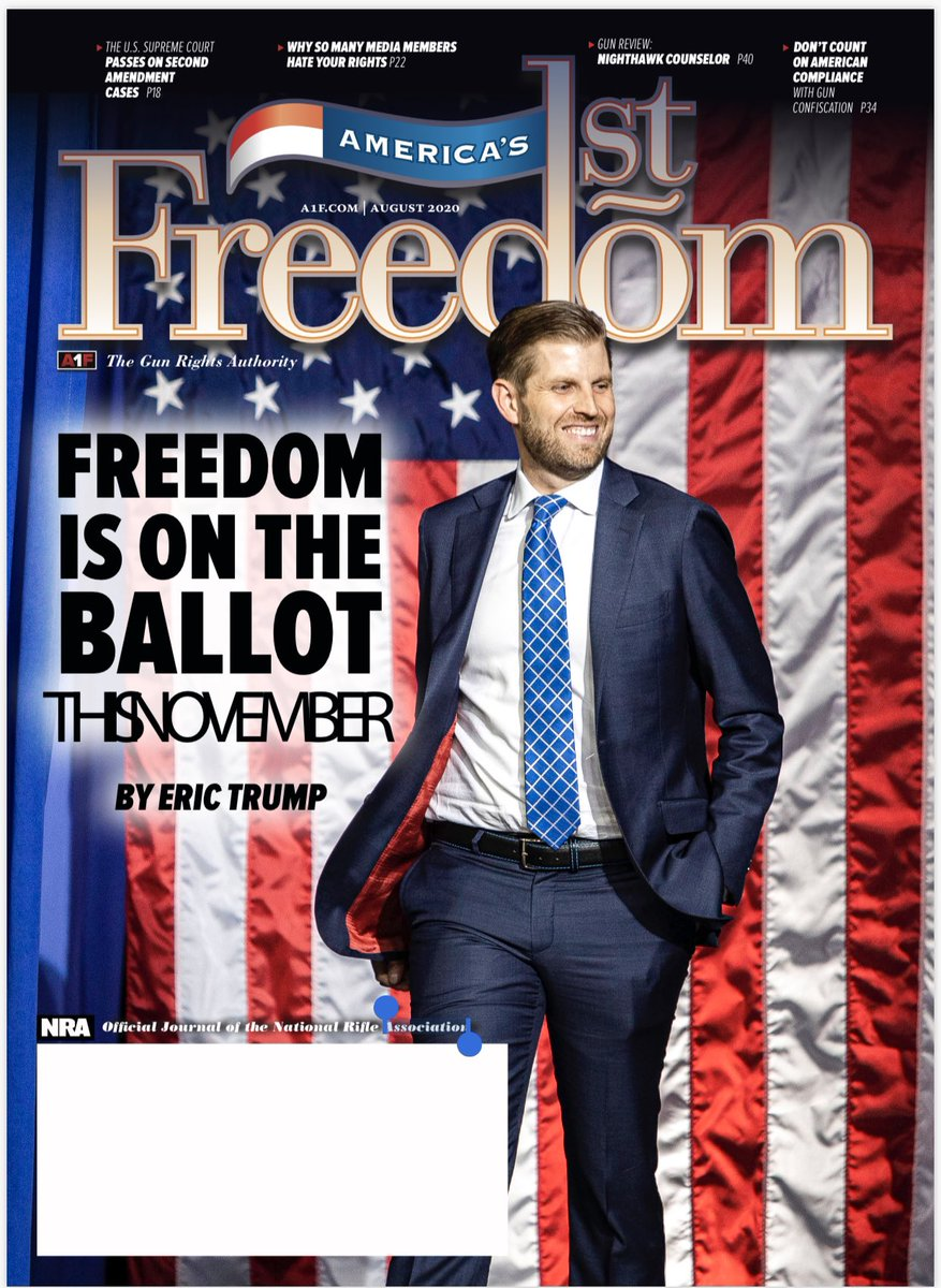 As a lifelong advocate of the Second Amendment, it's an honor to be on the cover of this coming months NRA magazine. 🇺🇸🇺🇸🇺🇸 @NRA #Americas1stFreedom