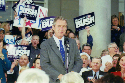 Happy Birthday to President George W. Bush!   After he filed for the 2000 First-in-the-Nation Primary, George W. Bush held this rally outside the New Hampshire State House. #nhpolitics #FITN