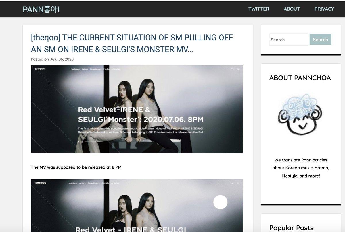 ลงข่าวละ ขายขี้หน้าจริงจังไหมเอสเอ็ม #MonsterIShere #MonsterMV #RedVelvet_IRENE_SEULGI