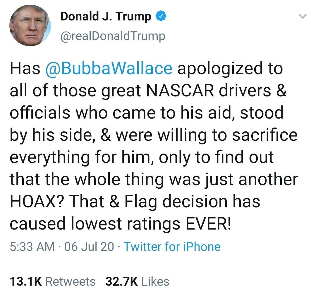 """By """"flag decision"""" he means @NASCAR no longer allowing the flag of those who turned against the U.S. as traitors, and killed Americans, to preserve their ability to enslave, beat, rape, and kill black people.   Why does he love that flag?"""