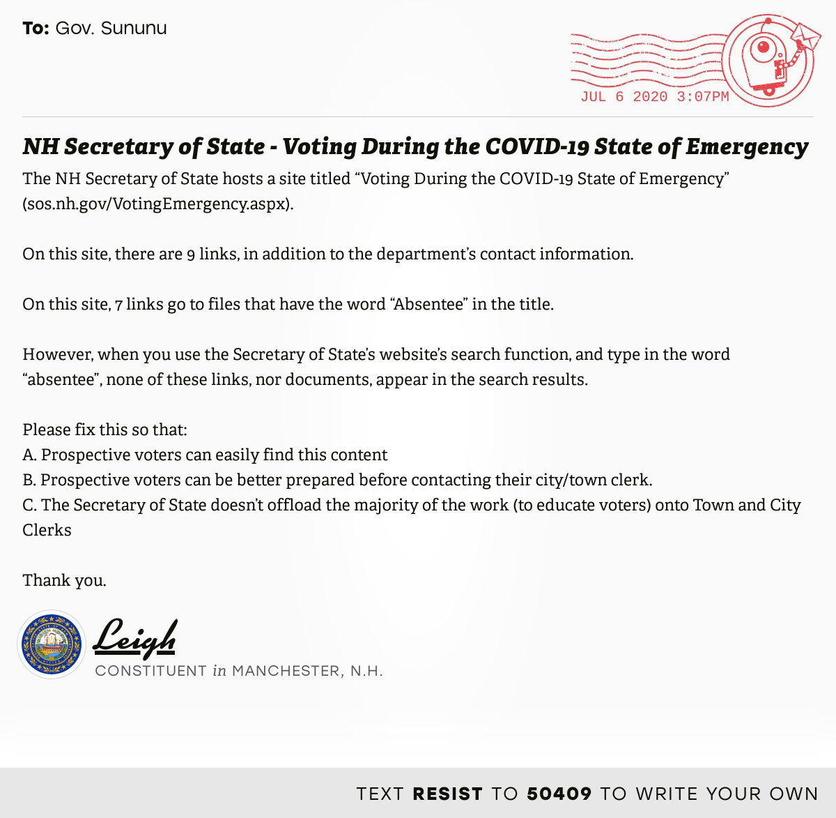 """📬 I delivered """"NH Secretary of State - Voting During the COVID-19 State of Emergency"""" from Leigh, a constituent in Manchester, N.H., to @GovChrisSununu  #NHpolitics #fitn #VoteByMail  📝 Write your own:"""