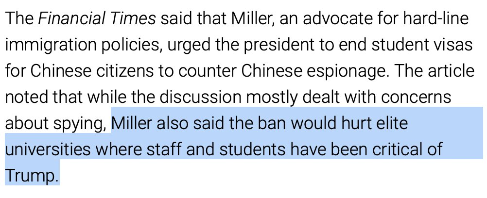 The President's lead advisor on immigration views it as a positive benefit if a policy can hurt the US higher education industry, which is exactly what today's announcement from ICE will do.