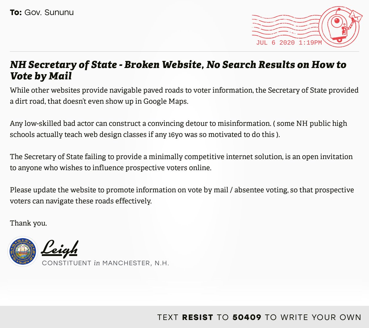 """📬 I delivered """"NH Secretary of State - Broken Website, No Search Results on How to Vote by Mail"""" from Leigh, a constituent in Manchester, N.H., to @GovChrisSununu  #NHpolitics #fitn #VoteByMail  📝 Write your own:"""