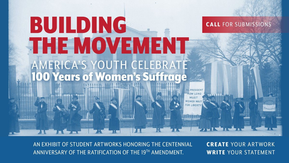 """Reminder: Submit your artwork for """"Building the Movement"""" by 5pm(ET) today! First Lady Melania Trump is honoring the #WomensVote100 centennial with this student art project. Students grades 3-12 are encouraged to participate. Learn more here:  @FLOTUS"""