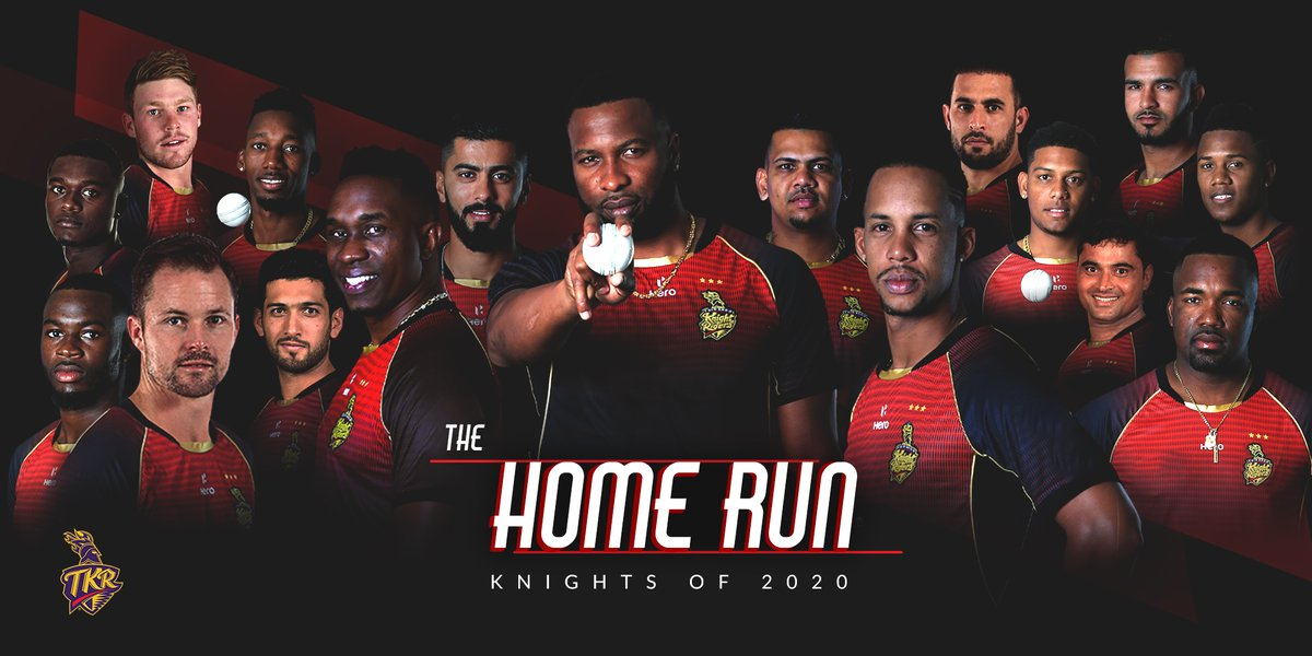 Thus begins our race for #TheHomeRun!❤️🇹🇹  #TKR 17-Member Squad for #CPL20: Pollard (c), DJ Bravo, DM Bravo, L Simmons, S Narine, C Munro, A Khan, K Pierre, T Seifert, T Webster, A Hosein, F Ahmed, A Phillip, A Jangoo, P Tambe, S Raza, J Seales⚡  #CPLDraft @CPL #Cricket #CPL2020