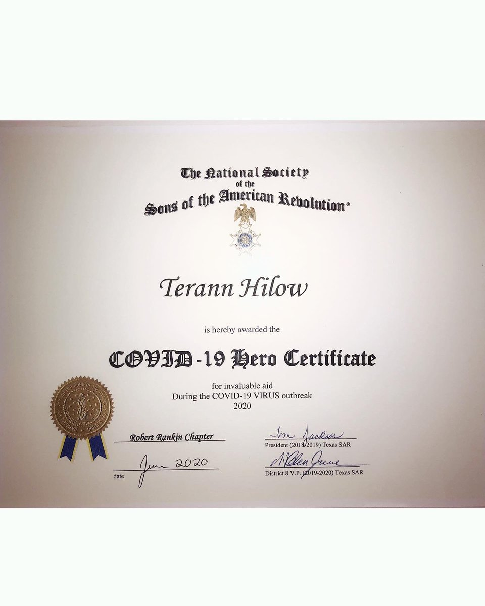 I am so very humbled, moved & honored for the recognition I've received from my great country, state & city this month and last. I proudly accept the COVID-19 Hero Certificate for myself and on behalf of my business for invaluable aid during the COVID-19 virus outbreak 2020