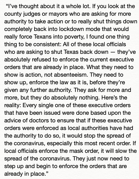 .@GovAbbott on KFDM blasts local officials pushing for another stay-at-home order or more authority of their own: