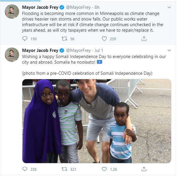 Minneapolis' lefty mayor Jacob Frey tweeted about Somali Independence Day on July 1 from his official mayoral account.  He DID NOT tweet about America's Independence Day on July 4th from his official mayoral account.  Why?
