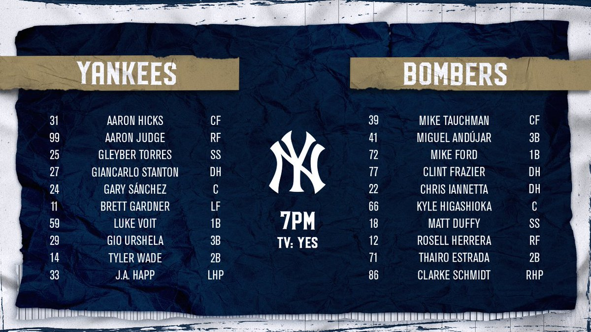 Tune in tonight for our first intrasquad game: Team Bombers vs Team Yankees.   Coverage on @YESNetwork begins at 6:00 p.m. with a first pitch at approximately 7:00 p.m.