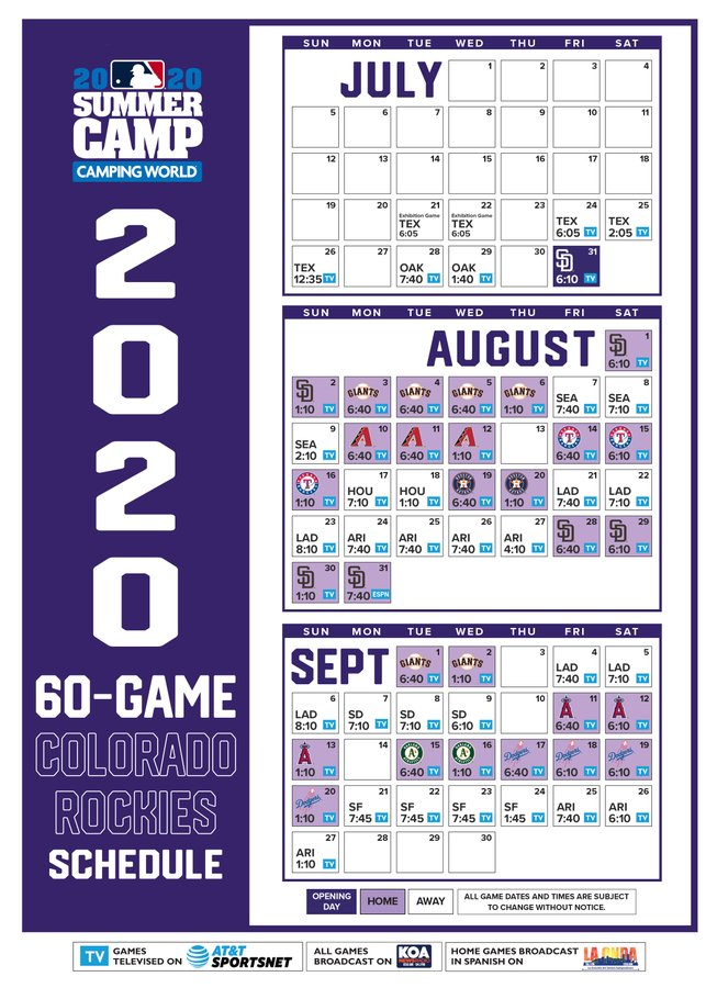 Colorado Rockies 2020 Schedule