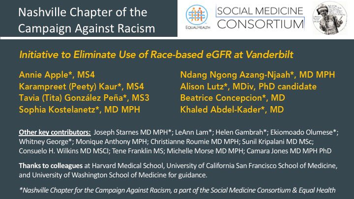 As of 7.8.20 @VUMCHealth will no longer report race-based #GFR More to come. Thanks @VUmedicine students & residents who led charge & faculty who responded! @inquitykills @michellemorse @KimrynRathmell @EdwinLindo @DorothyERoberts What's next?  #dismantle #racism #healthequity