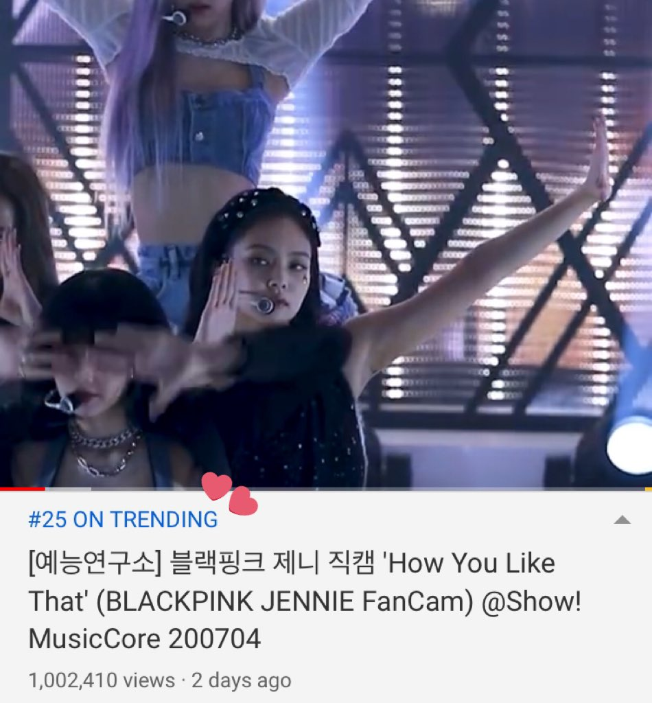 Jennie's fancam at Show! Music Core is still trending on YouTube South Korea at #25  It has been trending for 2 DAYS now!  #BLACKPINK #블랙핑크 #Jennie #제니 @BLACKPINK @ygofficialblink @MBC_entertain