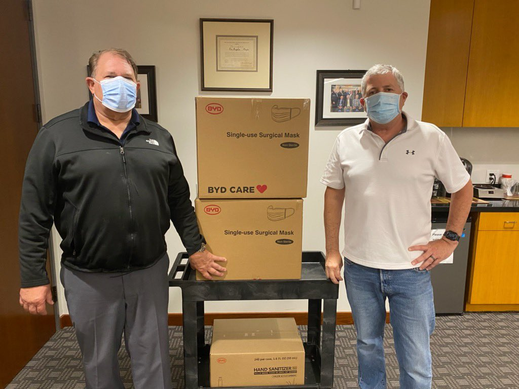 BYD donated masks and sanitizer to @necanet & @IBEWlocal11 as part of our million-dollar pledge to donate #PPE to those on the front lines of the battle against #COVIDー19  @IBEW #pandemic #FrontLineHeroes