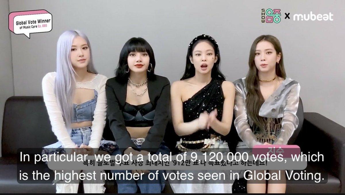"""[VÍDEO] @BLACKPINK gravou uma entrevista agradecendo aos BLINKs por vencerem a votação global do Mubeat semana passada.  """"Nós tivemos 9,120,000 votos, o maior número de votos já visto na votação global.""""  Assista:"""