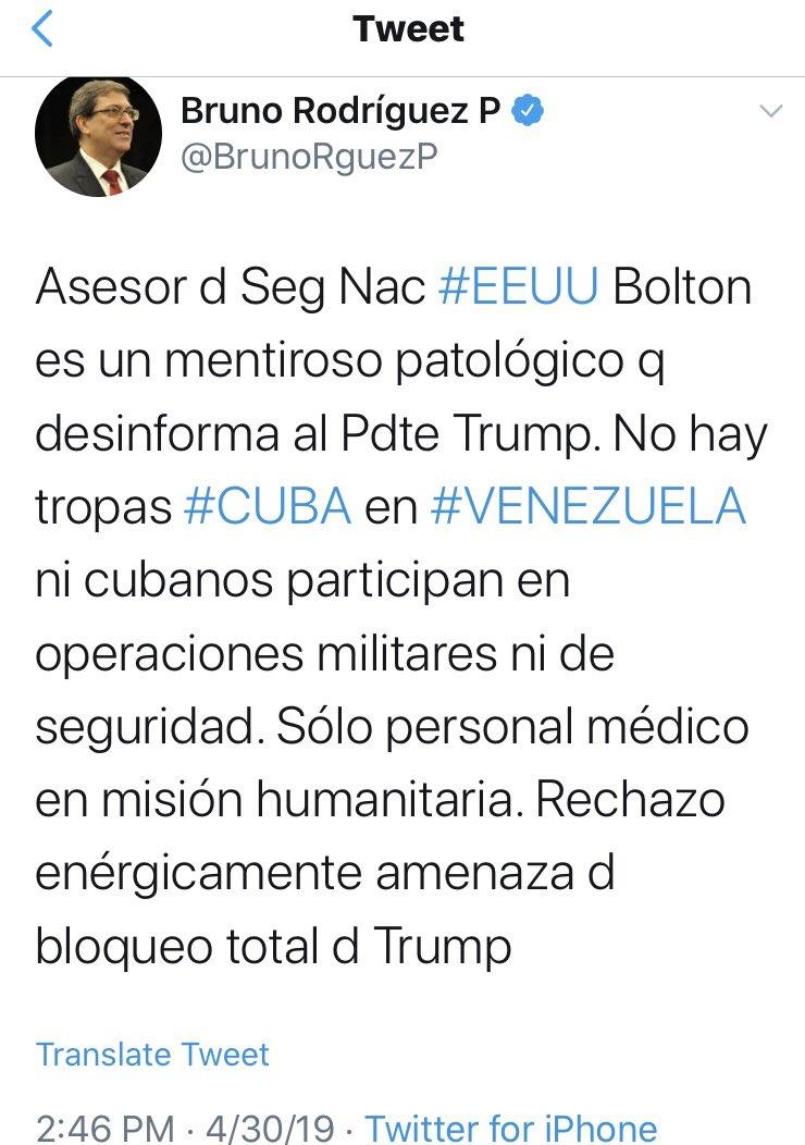 @cmphcuba @BrunoRguezP Ahora le creen al mentiroso patológico de Bolton!😅Convenencieros no?!😛#Coño #Cuba #MasCastrismoParaQué❤️🇨🇺🙏