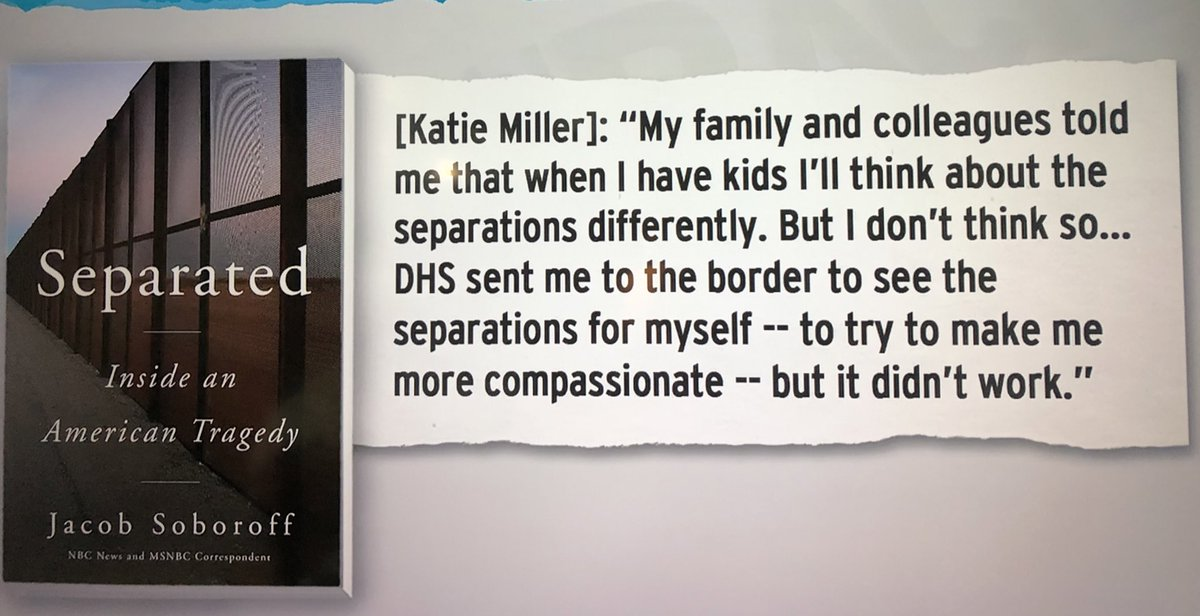 JFC. Katie Miller is perfect for Stephen Miller — she digs prying small children from their parents arms.   Who are these ghouls?! I don't know these Americans.   NEW BOOK 📚;  #Separated #Soboroff