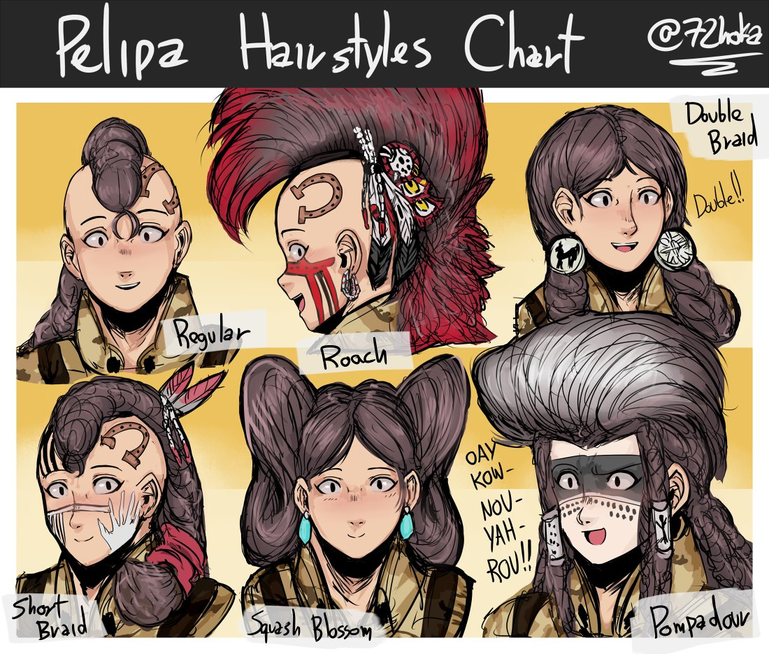 #oc #pelipa  mostly native american hairstyles, and they're kinda exaggerated since she has a lot of hair