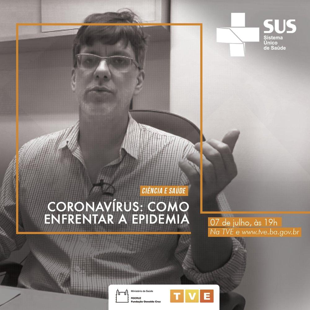 """A pandemia da Covid-19 é tema da série de vídeos """"Coronavírus: como enfrentar a epidemia"""", uma produção da Fundação Oswaldo Cruz  @fiocruz.  Assista nesta terça-feira (7), às 19h, na TVE e   Não perca! 📺🎬  #Documentário #Pandemia #Fiocruz #TVEBahia"""