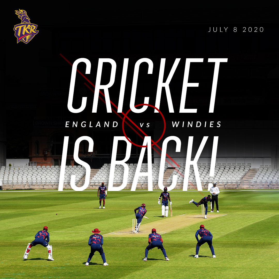 And finally, after what seemed like eternity, #CricketIsBack tomorrow with @windiescricket taking on hosts @englandcricket in Southampton ⚡️  Rally 'round your 📺 🇹🇹 6:00 AM AST 🇬🇧 11:00 AM GMT 🇮🇳 3:30 PM IST 🇵🇰 3:00 PM PST  #ENGvWI #MenInMaroon #WestIndies #Cricket #TestCricket