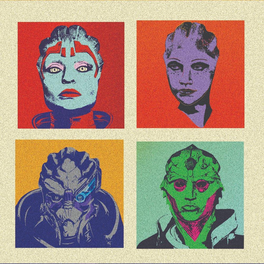 mass effect squad pop part inspired portraits #masseffect #liara #garrus #justicar #fanart #portrait #gamedesign #andywarhol #bioware #illustration #