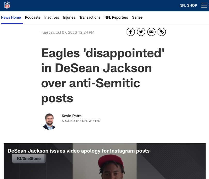 "College football coach wears conservative website t-shirt on a fishing trip: $1 million pay cut.  NFL player posts a brazenly anti-Semitic quote attributed to Adolf Hitler: Eagles are ""disappointed."""